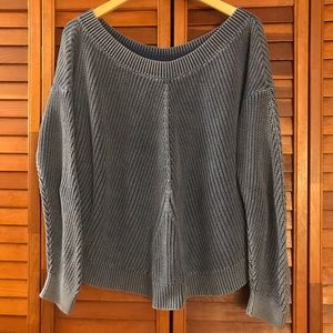 AERIE distressed crew neck sweater blue large